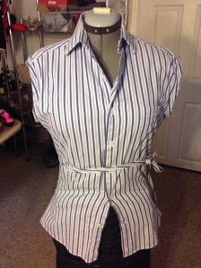Ladies Blouse made from a refashioned men's dress shirt diy.