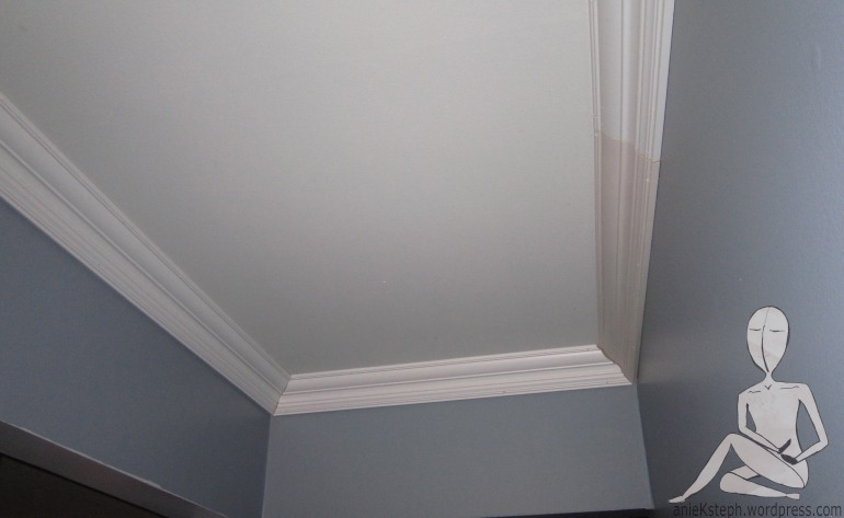 Crown moulding in a hallway- project