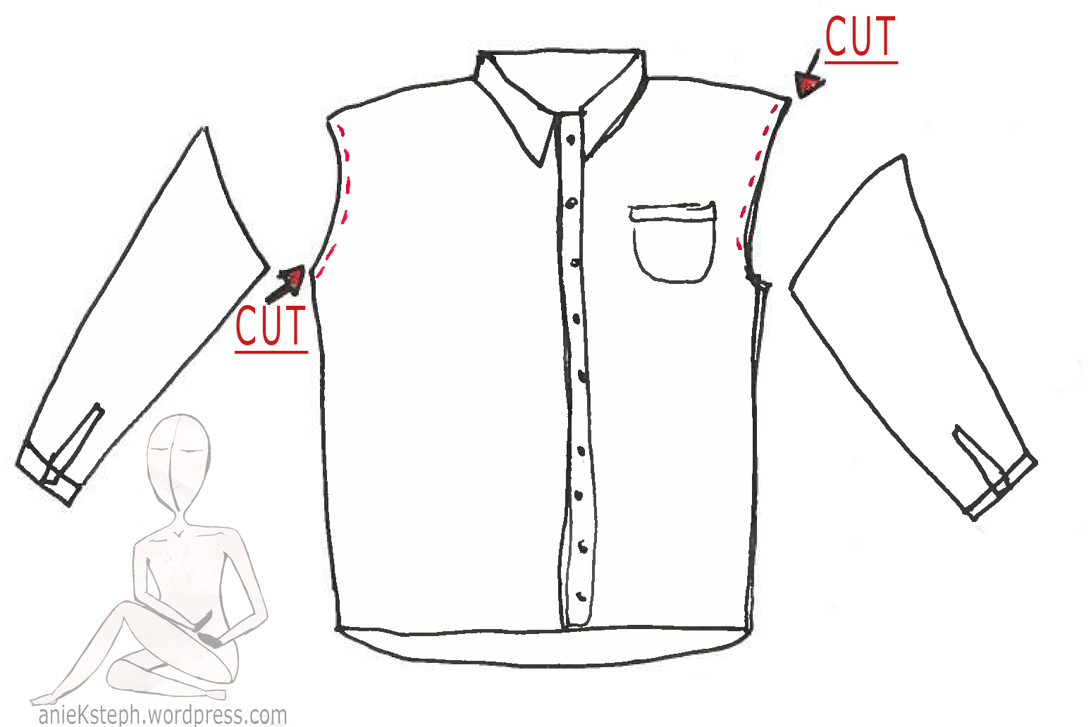 Do it yourself turn a men s dress shirt into a cute for How to cut sleeves off a shirt