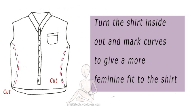 Turn the shirt inside out and mark curves to give a more feminine fit to the shirt.
