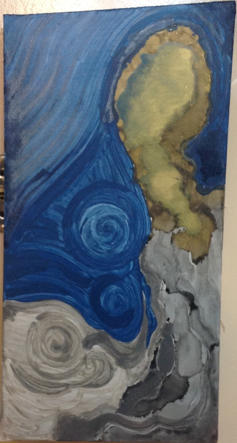 (Blue, gold, grey swirls, acrylic art) Archipelago- Acrylic art abstract by S. Konu