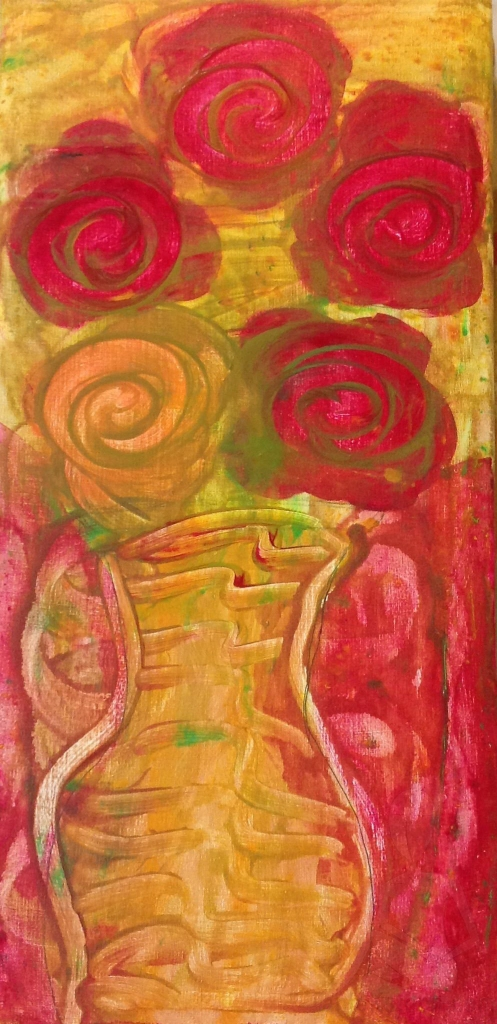 An urn blossoming with flowers; acrylic on canvas. Red, Yellow, and greens