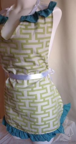 green, lime green, white satin ribbon apron very sexy