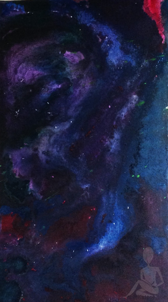 Blue, violet, rose, silver and burgundy swirled abstract nebula