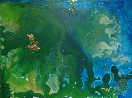 Green, Blue, Aqua, Gold leaf abstract painting by Konu
