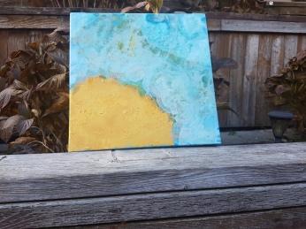 Blue, gold acrylic pour on canvas by Stephanie Konu