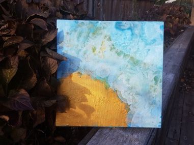 Closer: Blue, gold acrylic pour on canvas by Stephanie Konu
