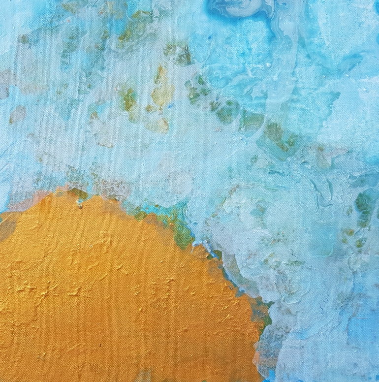 Cerulean Blue, Gold on Acrylic