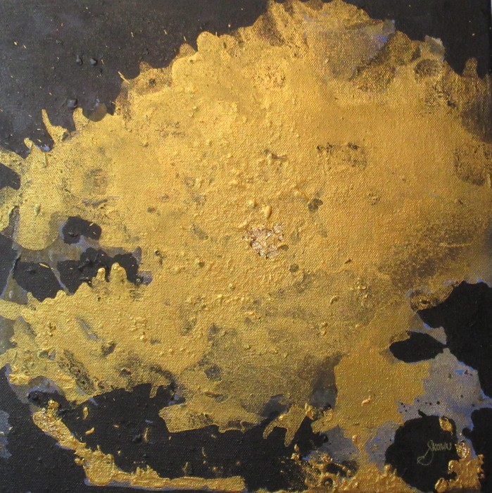 A shapeless Gold acrylic and gold leaf over top a black negative space.