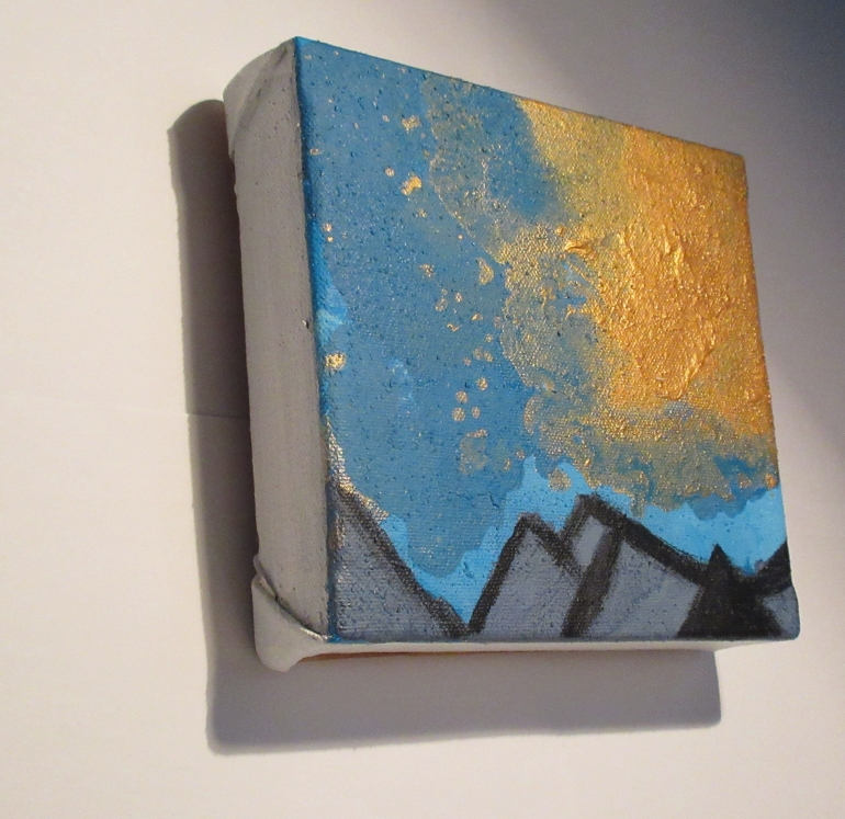 Sea Breexe Acrylic on canvas blue acrylic gold small art Stephanie Konu