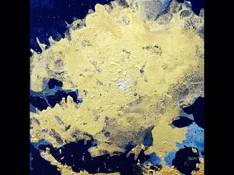 A gold field of metallic acrylic washed over a black negative space with gold leaf.