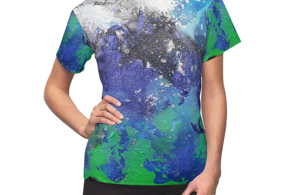 Space art tees with green silver and violet on a black background