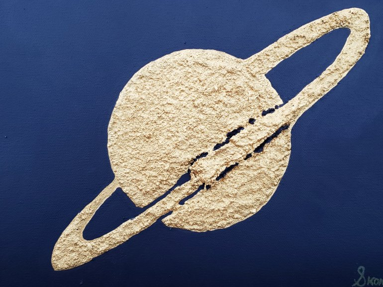 An acrylic texture relief painting Epsilon in gold texture with black background