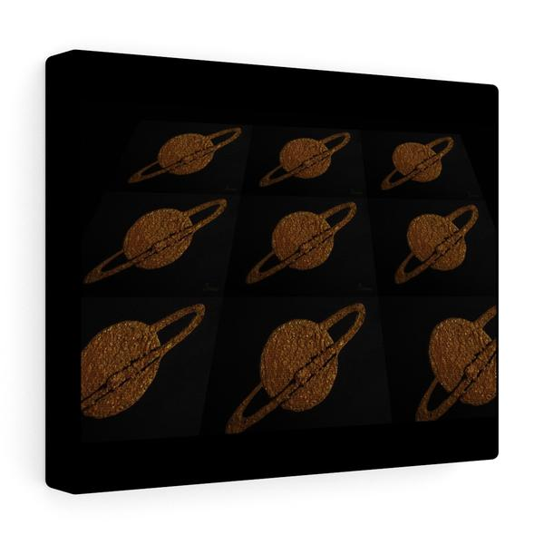 gold saturn like planets in a 3D pattern against a black background