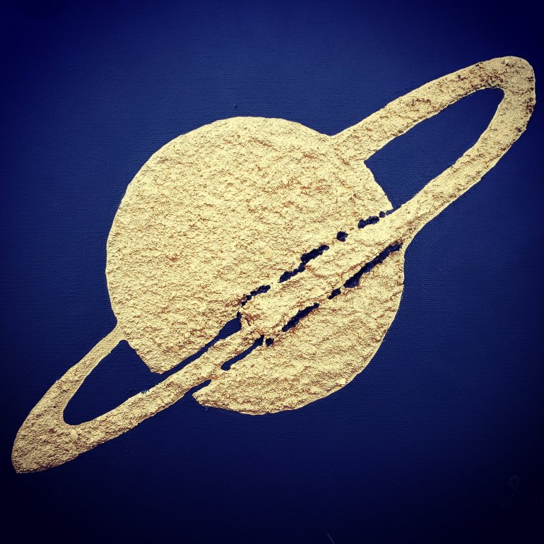 An acrylic texture relief painting Epsilon in gold texture with black background. Saturn like ring around planet.