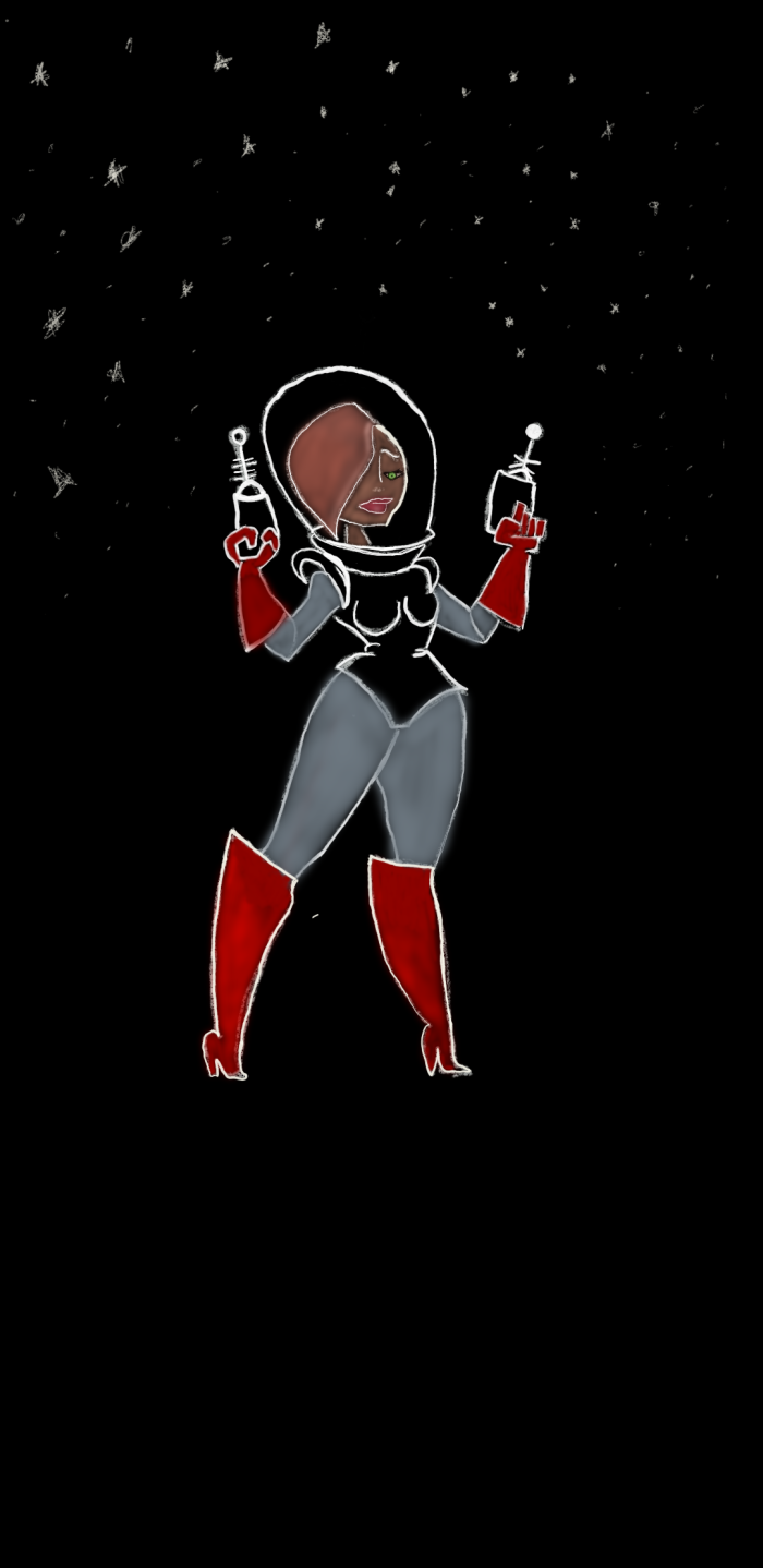 Colour illustration of a space babe sexy girl in outer space