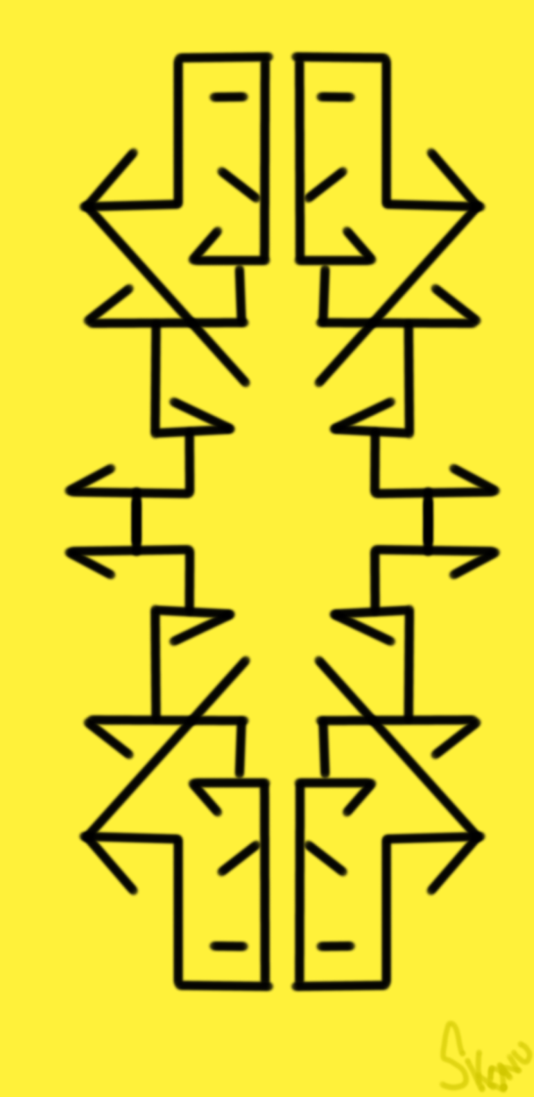 A geometric pattern with black angled lines connecting over a yellow background