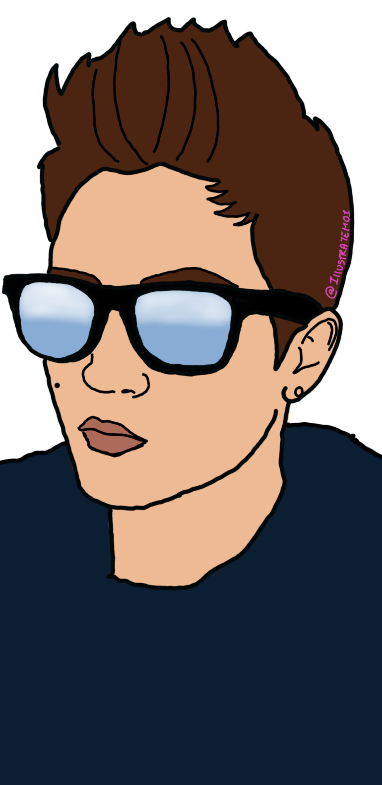 Pixie hair brunette illustration of a woman with sunglasses