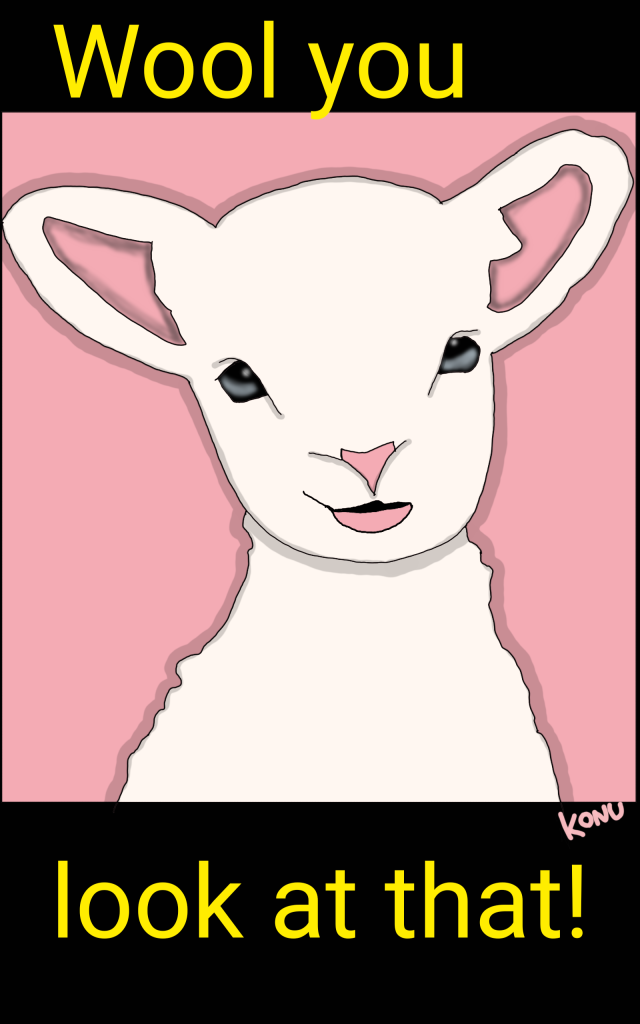 Cute lamb sheep illustration with pink background and realistic eyes