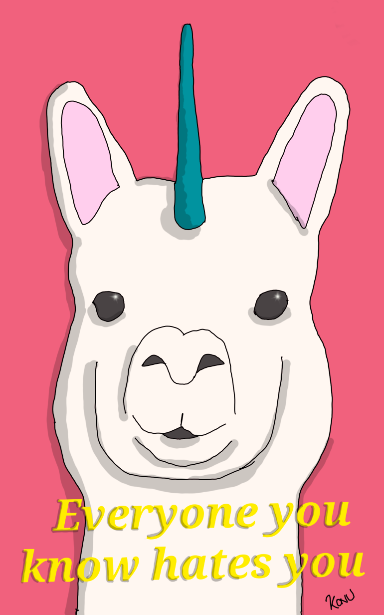 White llama with unicorn horn funny caption everyone you know hates you