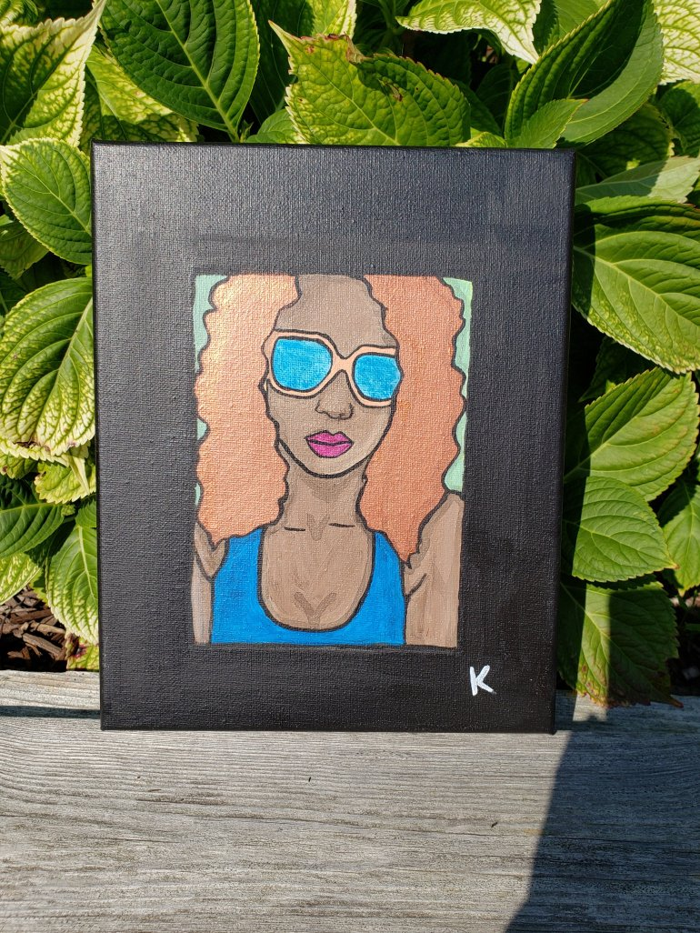portrait of artist Stephanie Konu in 1980s vintage style colours green, blue and ebony