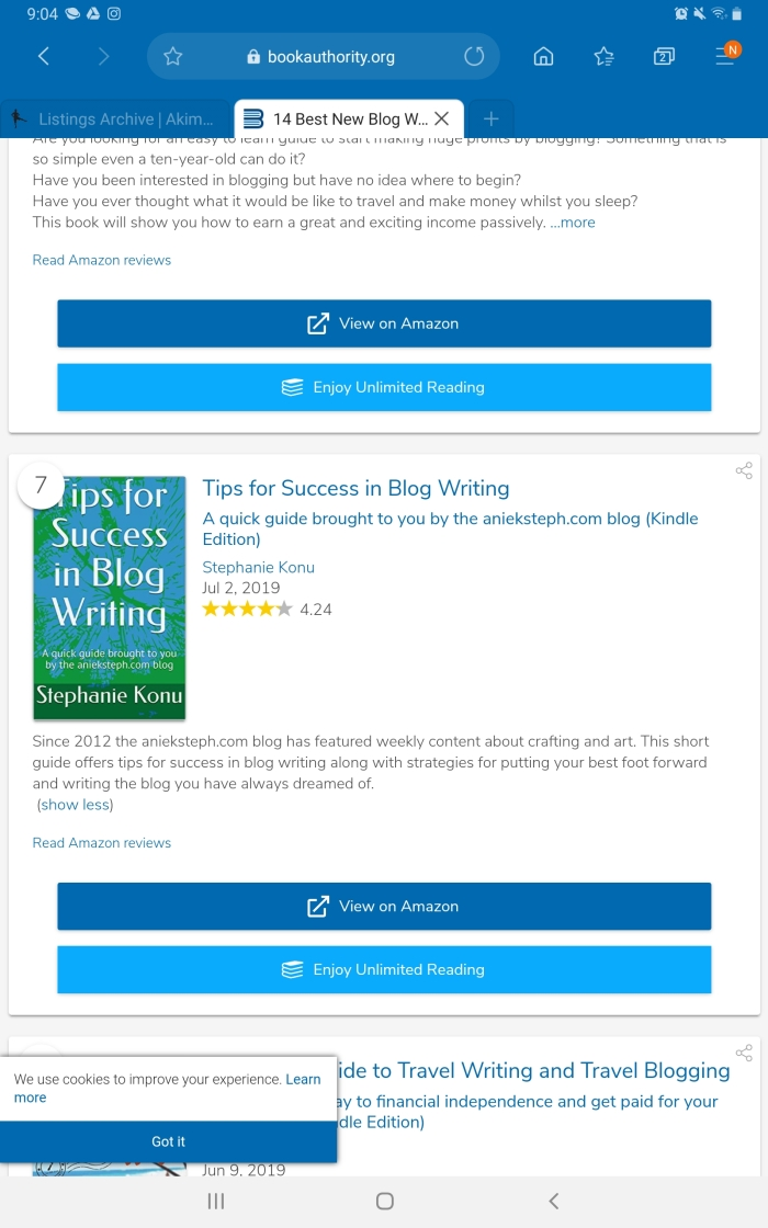 Book authority.org review of Tips for success in blog writing by Stephanie Konu