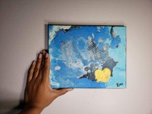 Ocean splash acrylic on canvas blue black grey and gold metal