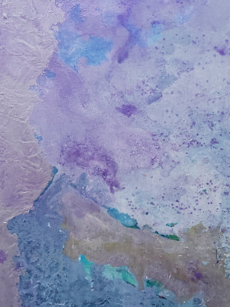 Rock slide abstract painting by Stephanie Konu blue, violet, grey, silver