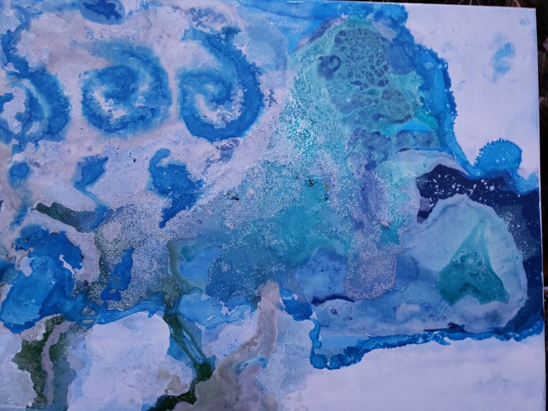 Winter blue silver abstract