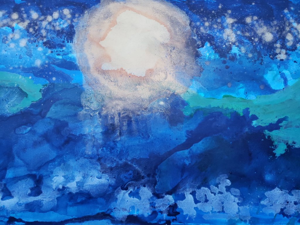 Full size sun over ocean and hill by Stephanie Konu Art By Konu blue silver green and golden sun abstract landscape