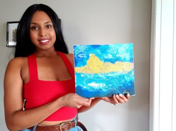 "Artist Stephanie Konu, 2020- Painting mixed media ""Money Cloud"""