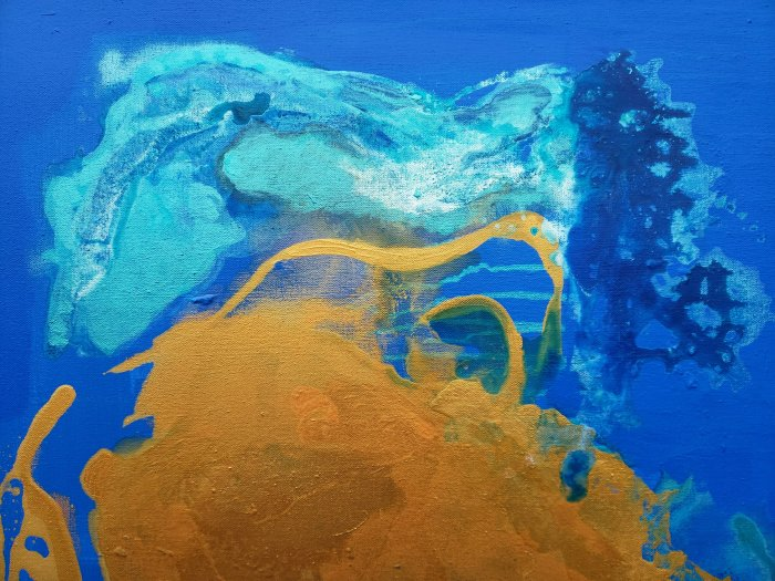 blue gold and turqoise painting with reflective shimmering effects
